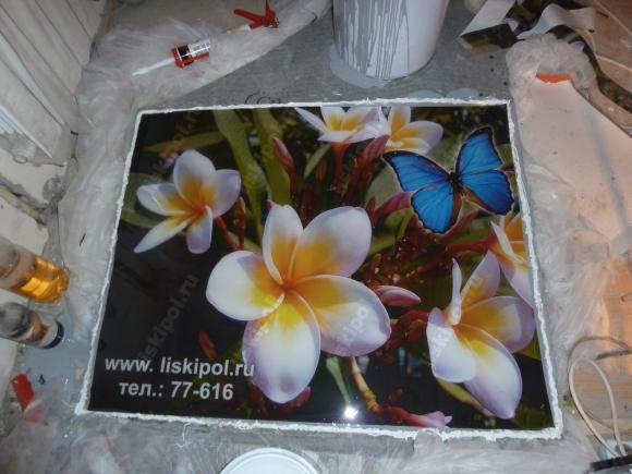 Макет наливного пола с цветами...